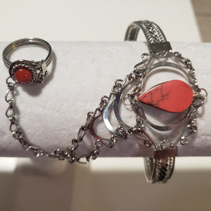 Jewelry - Red/silver bracelet and ring combo